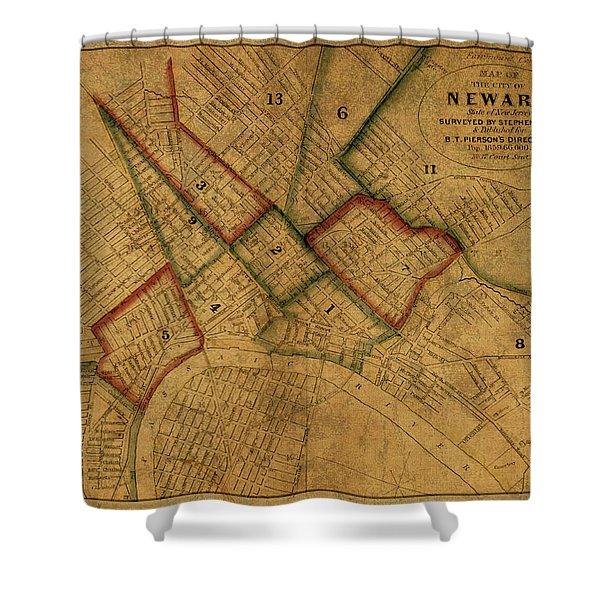 Newark New Jersey Vintage City Street Map 1859 Shower Curtain