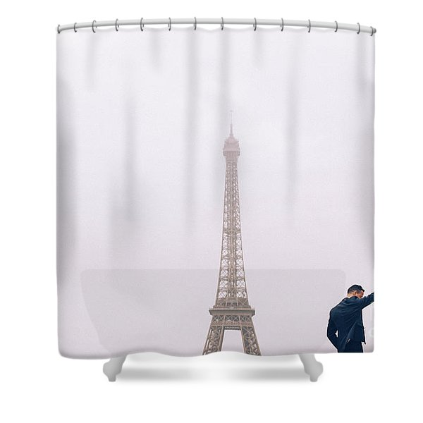 Newly-wed Couple On Their Honeymoon In Paris, Loving Having A Date Near The Eiffel Tower Shower Curtain