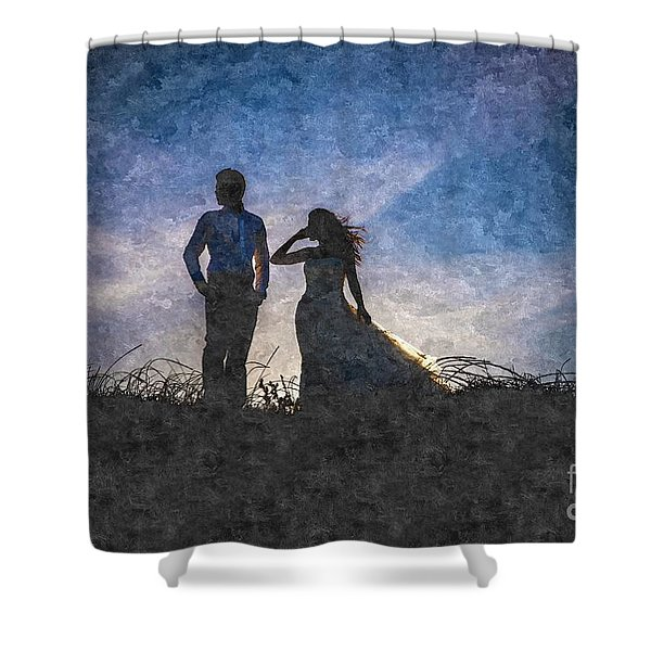 Newlywed Couple After Their Wedding At Sunset, Digital Art Oil P Shower Curtain