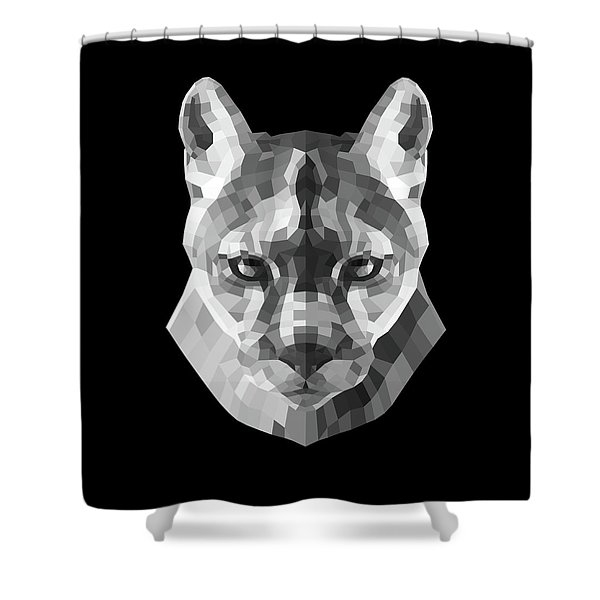 Night Mountain Lion Shower Curtain