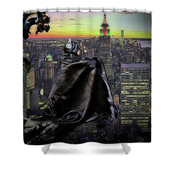 Night Of The Bat Man Shower Curtain