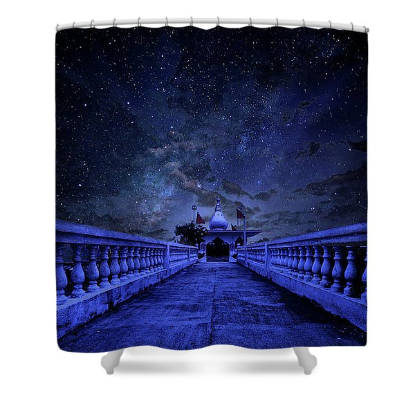 Night Sky Over The Temple Shower Curtain