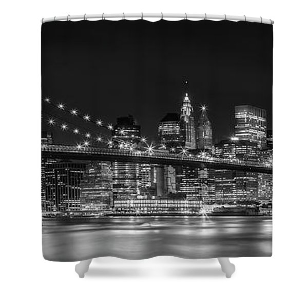 Night-skyline New York City Bw Shower Curtain