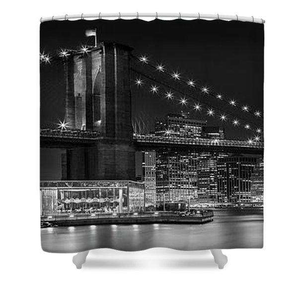 Night-skyline New York City Bw Shower Curtain