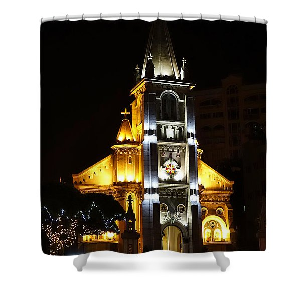 Night View Of The Holy Rosary Cathedral Shower Curtain