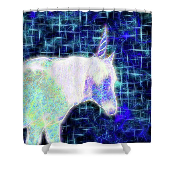 Nightwalk Of The Opal Unicorn Shower Curtain
