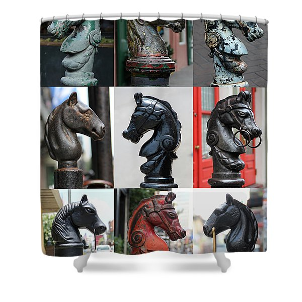 Nine Horse Head Hitching Posts Shower Curtain