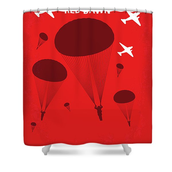 No1018 My Red Dawn Minimal Movie Poster Shower Curtain