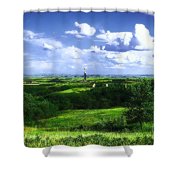 North Dakota Landscape And An Oil Rig Shower Curtain