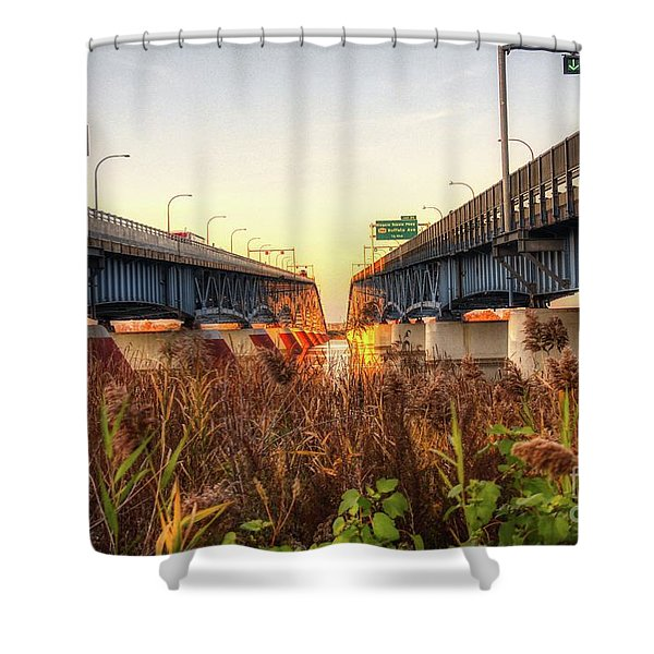 North Grand Island Bridges Shower Curtain