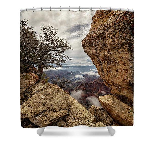 North Rim Fog 1 - Grand Canyon National Park - Arizona Shower Curtain