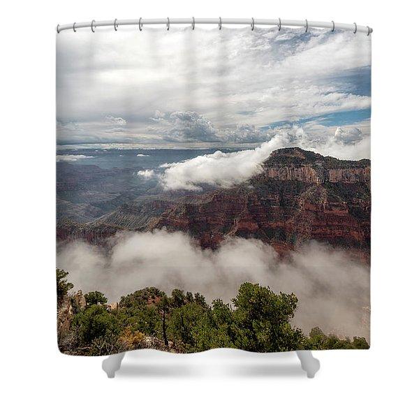 North Rim Fog 4 - Grand Canyon National Park - Arizona Shower Curtain