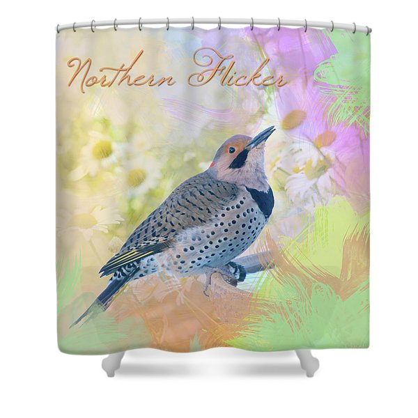 Northern Flicker Watercolor With Daisies Shower Curtain