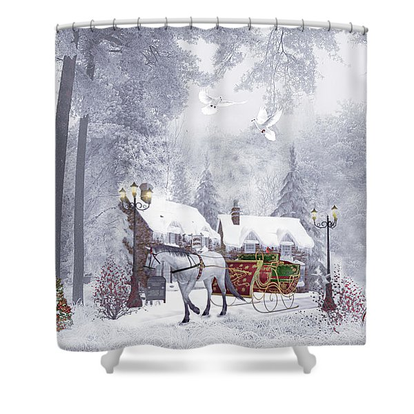 Nostalgic Christmas Buggy Ride  Shower Curtain