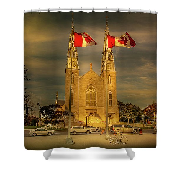 Shower Curtain featuring the photograph Notre Dame Basilica by Juan Contreras