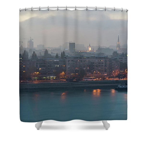 Shower Curtain featuring the photograph Novi Sad Night Cityscape by Milan Ljubisavljevic