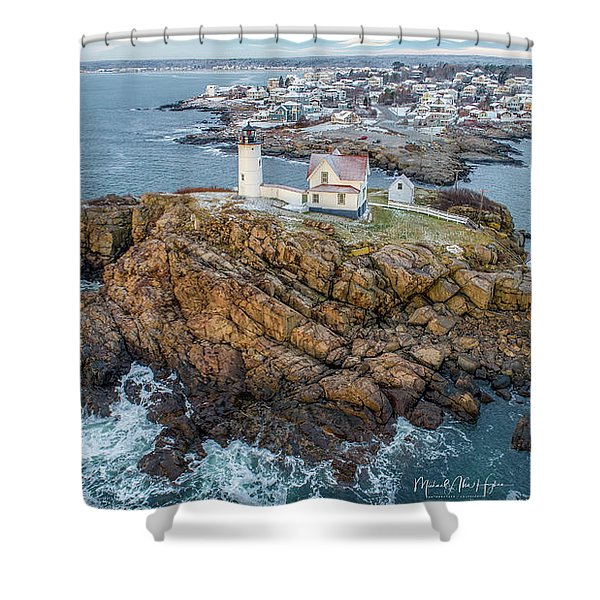 Nubble Light Winter Shower Curtain