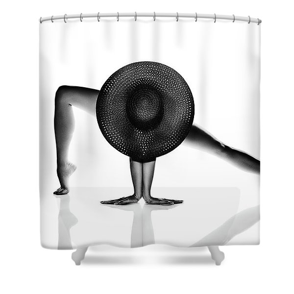 Nude Woman Black Hat Shower Curtain