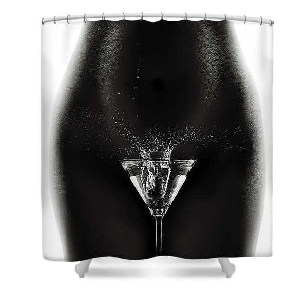 Nude Woman With Martini Splash Shower Curtain