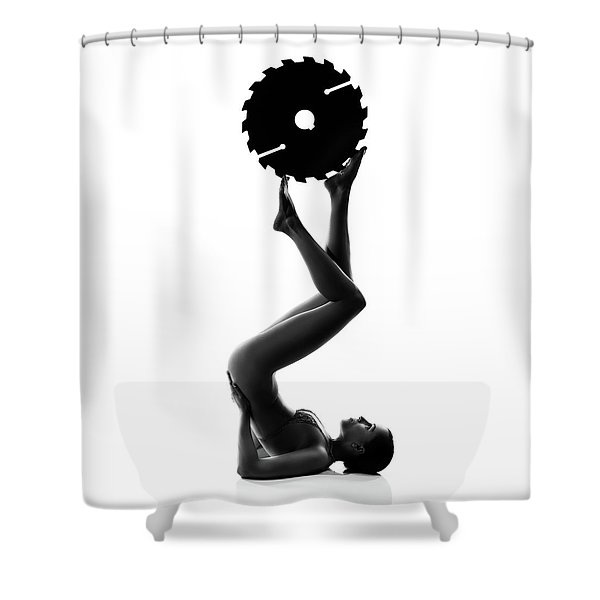 Nude Woman With Saw Blade 2 Shower Curtain