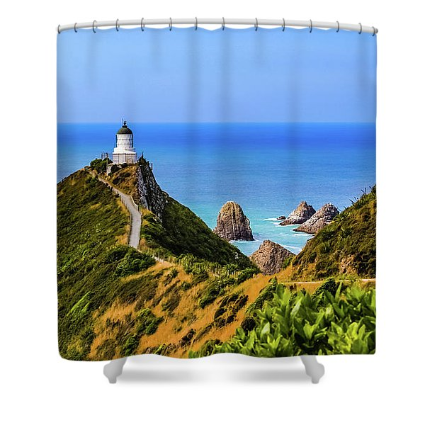 Nugget Point Lighthouse, New Zealand Shower Curtain