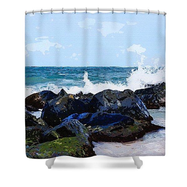 Ocean Meets The Coast Shower Curtain