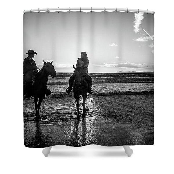 Ocean Sunset On Horseback Shower Curtain