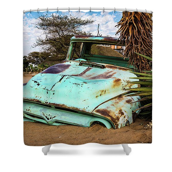 Old And Abandoned Car 2 In Solitaire, Namibia Shower Curtain