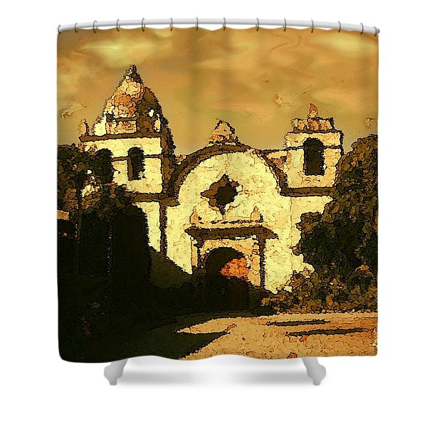Old Carmel Mission - Watercolor Painting Shower Curtain