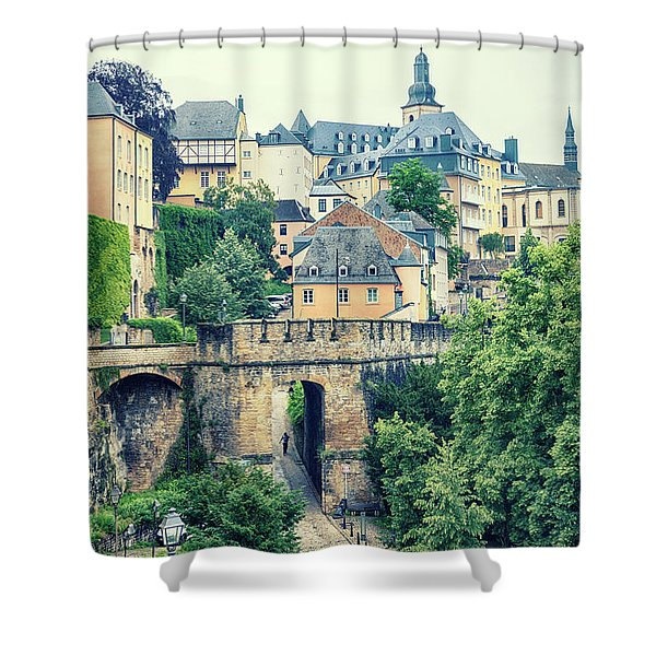 old city Luxembourg from above Shower Curtain