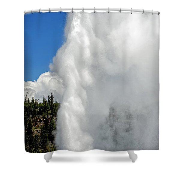 Old Faithful With Steam And Vapor Shower Curtain