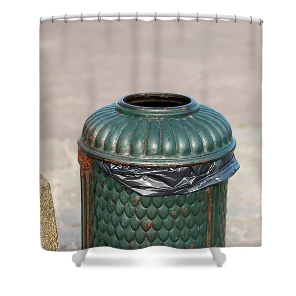 Old Green, Rusty Dustbin On A Street Shower Curtain