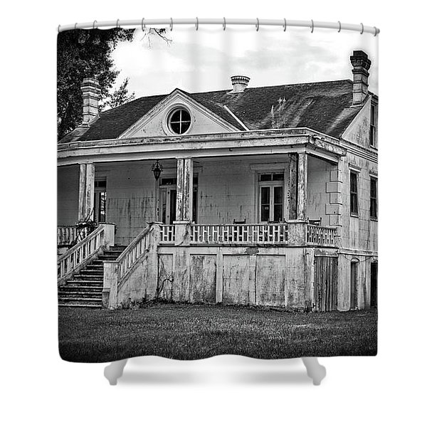 Old House Black And White Shower Curtain