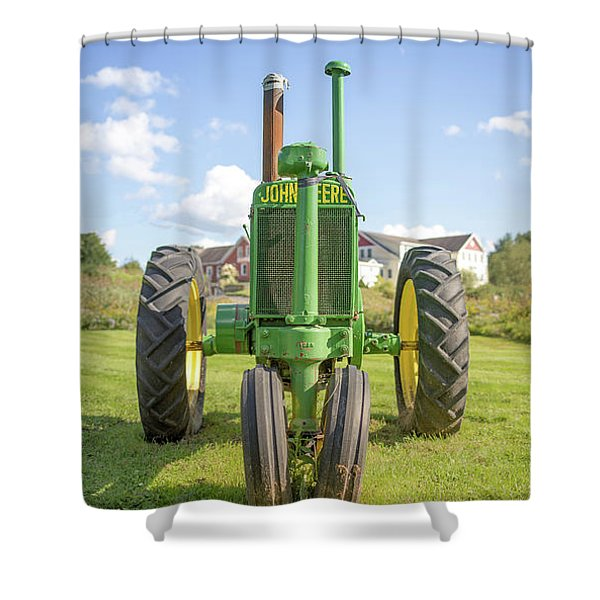 Old John Deere Vintage Tractor Stowe Vermont Shower Curtain