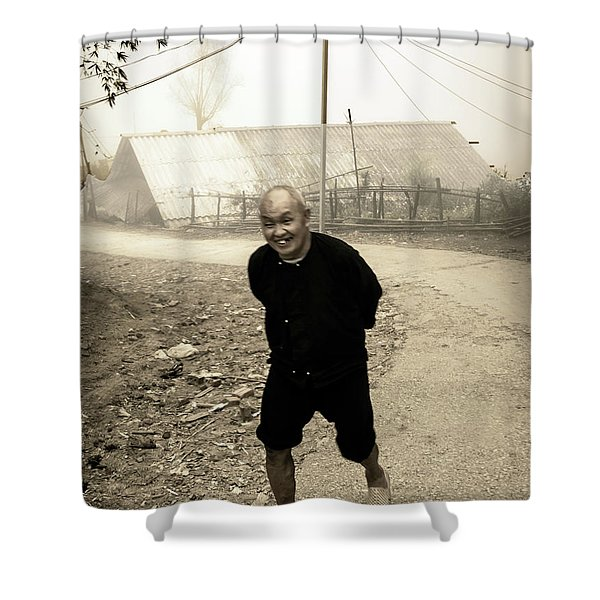 Old Man On Sapa Road, Vietnam Shower Curtain