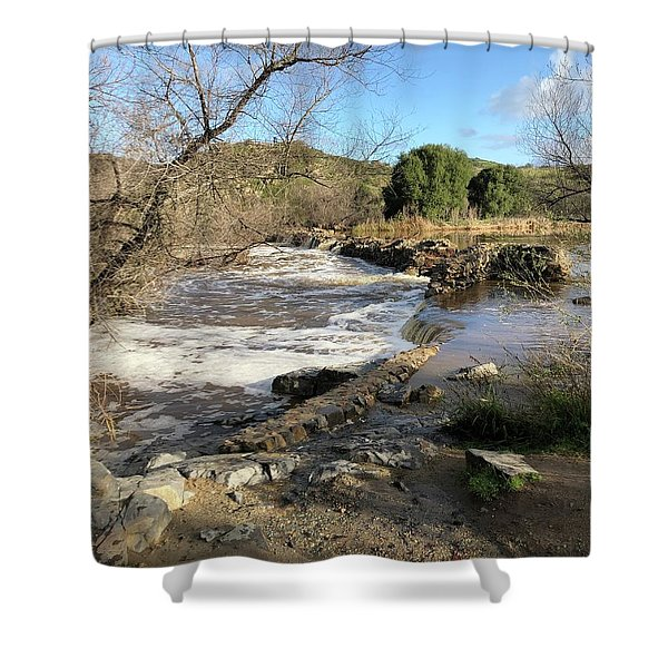 Old Mission Trail Dam And Flume Shower Curtain