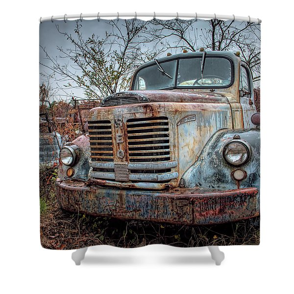 Old Reo Gold Comet Shower Curtain