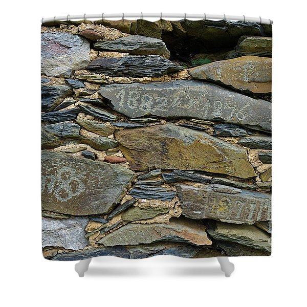 Old Schist Wall With Several Dates From 19th Century. Portugal Shower Curtain