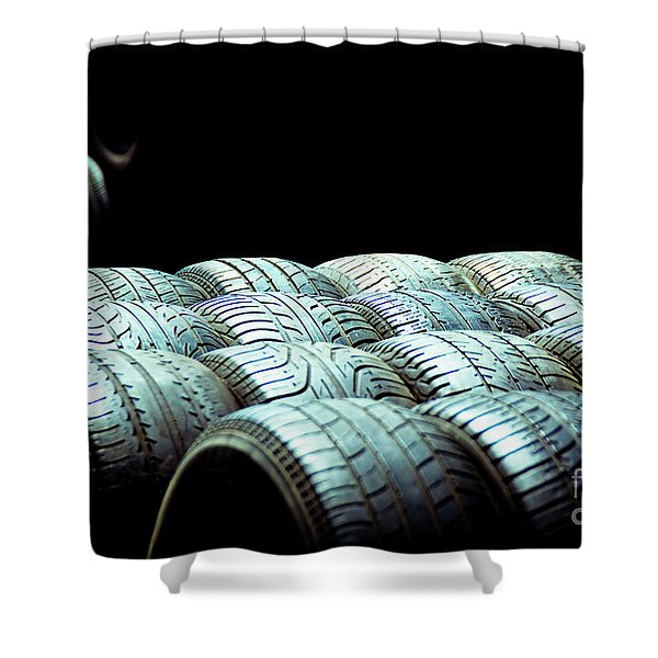Old Tires And Racing Wheels Stacked In The Sun Shower Curtain