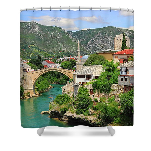 Old Town Of Mostar Bosnia And Herzegovina Shower Curtain