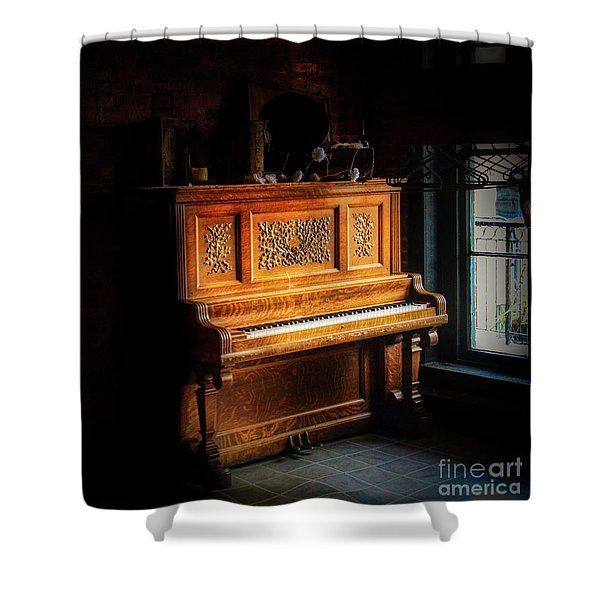 Old Wooden Piano Shower Curtain
