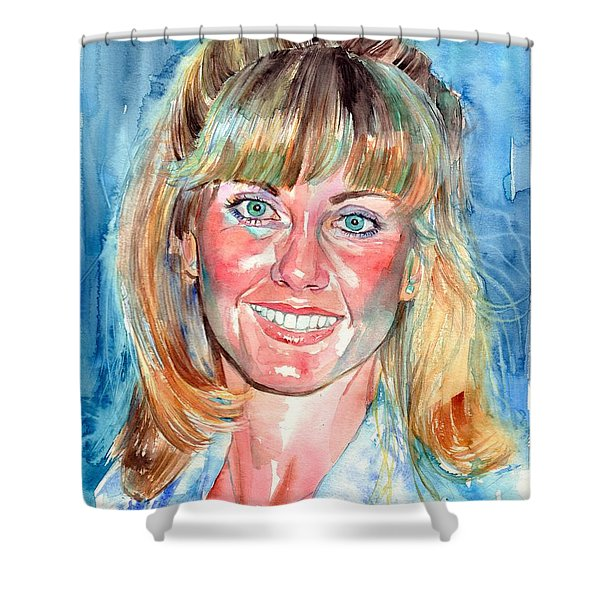 Olivia Newton John Watercolor Shower Curtain