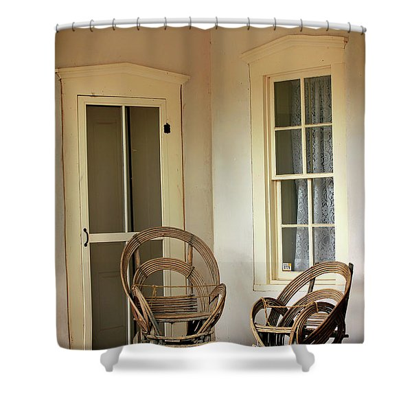 On Doc Woods' Porch Shower Curtain