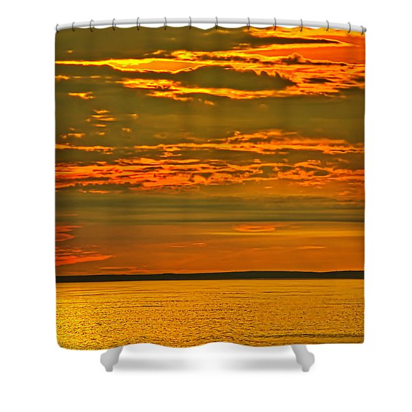 Shower Curtain featuring the photograph On Golden Pond by Meta Gatschenberger