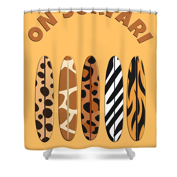 On Surfari Animal Print Surfboards  Shower Curtain