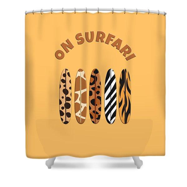 On Surfari Animal Print Surfboards  Shower Curtain