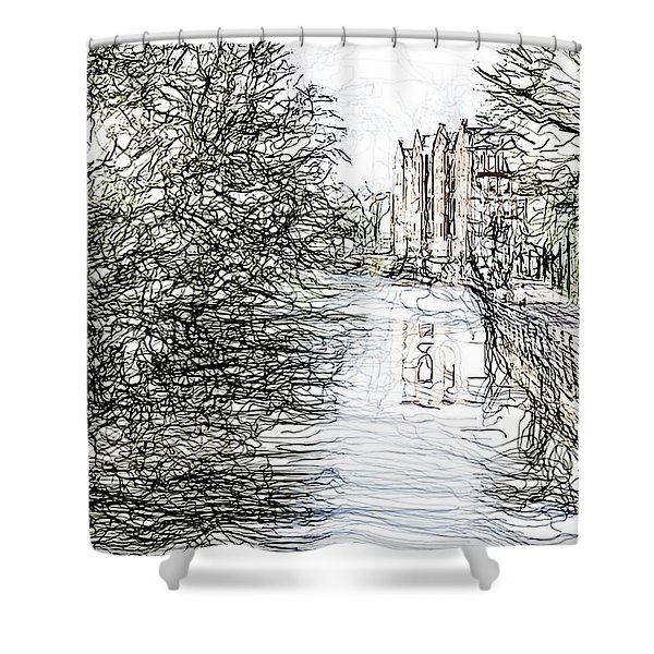 On The Banks Of The River Promenade  Shower Curtain