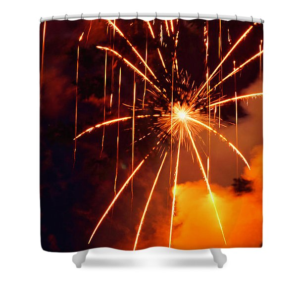 Orange Fireworks Shower Curtain