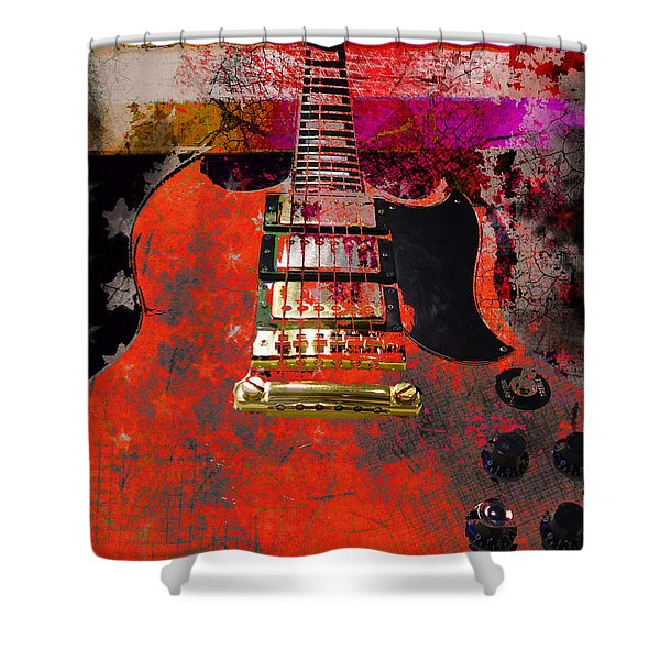 Orange Electric Guitar And American Flag Shower Curtain
