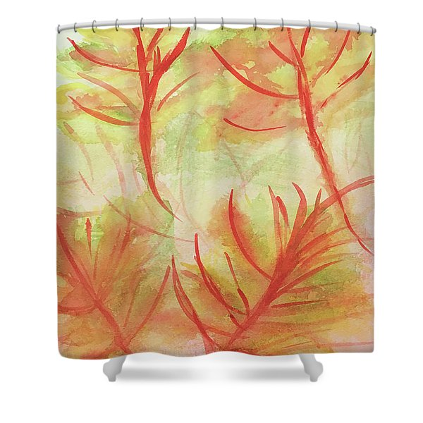 Orange Fanciful Leaves Shower Curtain